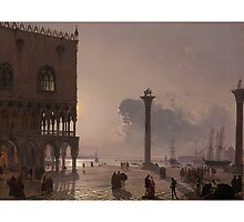 FRIEDRICH NERLY - GERMAN, 1807-1878 A MOONLIT VIEW OF THE PIAZZA SAN MARCO TOWARDS SAN GIORGIO MAGGIORE by Adam Asar