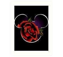 Disney - Mickey Mouse Rose Tattoo Art Print