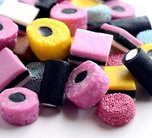 Traditional Old Fashioned Retro Sweet Shop Pile of Colourful Liquorice Sweets by HotHibiscus