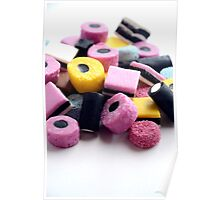 Traditional Old Fashioned Retro Sweet Shop Pile of Colourful Liquorice Sweets Poster