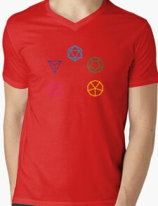 CMYK Rainbow Dice Geometry Mens V-Neck T-Shirt