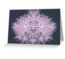 Pink psychedelic fairy forest creature on navy blue background Greeting Card