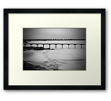 Dusk at Beachport jetty in monochrome Framed Print