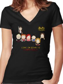 Buffy the Vampire Slayer as South Park Women's Fitted V-Neck T-Shirt