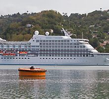 Regent of the Seas docked in the Caribbean by Keith Larby