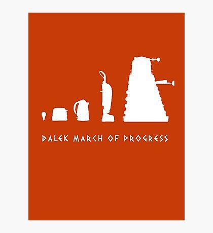 Dalek March of Progress White Photographic Print