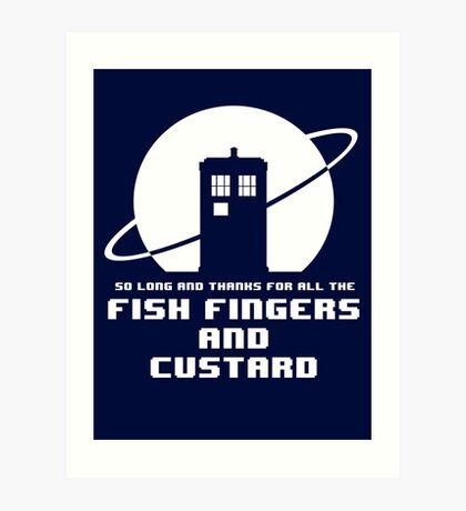 Fish Fingers and Custard White Art Print