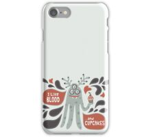 Cute and Creepy Vampire illustration...with a cupcake iPhone Case/Skin