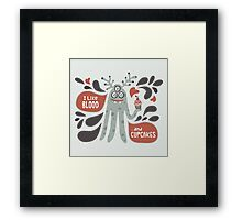 Cute and Creepy Vampire illustration...with a cupcake Framed Print