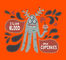 Cute and Creepy Vampire illustration...with a cupcake Kids Clothes