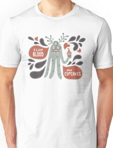 Cute and Creepy Vampire illustration...with a cupcake Unisex T-Shirt