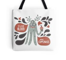 Cute and Creepy Vampire illustration...with a cupcake Tote Bag