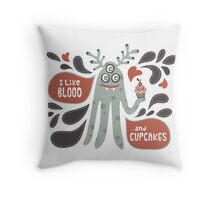 Cute and Creepy Vampire illustration...with a cupcake Throw Pillow