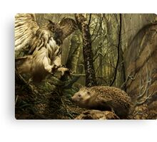 Natural environment diorama - A owl attacking a hedgehog Canvas Print