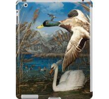 Natural environment diorama - a mallard and a swan in a pond  iPad Case/Skin