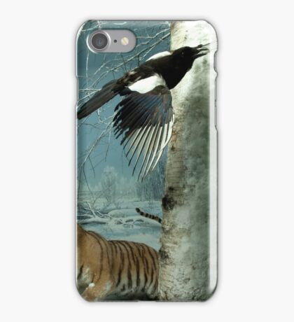 Natural environment diorama - a tiger and a bird in the snow  iPhone Case/Skin