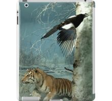 Natural environment diorama - a tiger and a bird in the snow  iPad Case/Skin