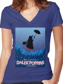 Dalek Poppins  Women's Fitted V-Neck T-Shirt