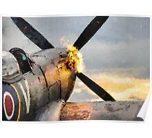 Spitfire FIRING UP - Fantastic Spitfire WWII art - world war 2 art / aviation art Poster