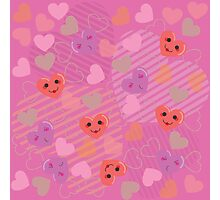Cute hearts pink pattern 2 Photographic Print