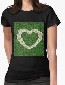 Daisy heart on grass Womens Fitted T-Shirt