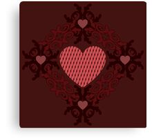 Dark red hearts ornament Canvas Print