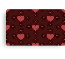 Dark red hearts ornament 2 Canvas Print