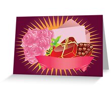 Gift box and roses Greeting Card