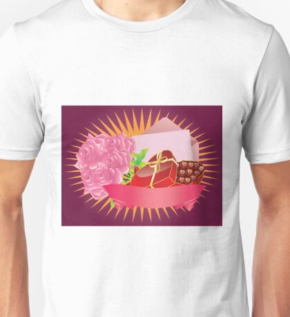 Gift box and roses Unisex T-Shirt
