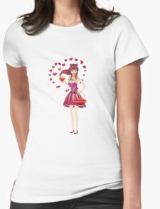 Girl in lovely outfit  Womens Fitted T-Shirt
