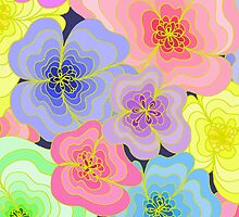 Pretty pastel flower drawing in many colours by LyricalSixties