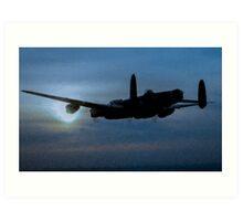 "Avro Lancaster - Lancaster Bomber ""NIGHT RUN"" - ww2 art - aviation art / dam busters Art Print"