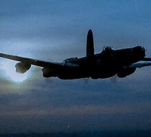 "Avro Lancaster - Lancaster Bomber ""NIGHT RUN"" - ww2 art - aviation art / dam busters by verypeculiar"