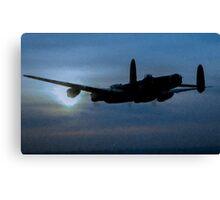 "Avro Lancaster - Lancaster Bomber ""NIGHT RUN"" - ww2 art - aviation art / dam busters Canvas Print"