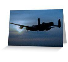 "Avro Lancaster - Lancaster Bomber ""NIGHT RUN"" - ww2 art - aviation art / dam busters Greeting Card"