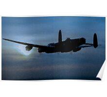 "Avro Lancaster - Lancaster Bomber ""NIGHT RUN"" - ww2 art - aviation art / dam busters Poster"