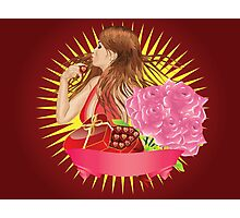 Girl with gift box and ribbon Photographic Print