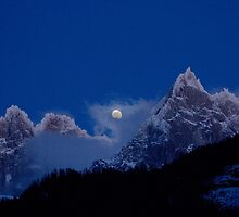 Moonrise over Aiguille du Chamonix by Tom Page