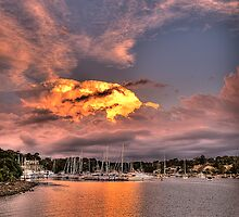 Fire In The Sky - Newport Marina - The HDR Experience by Philip Johnson