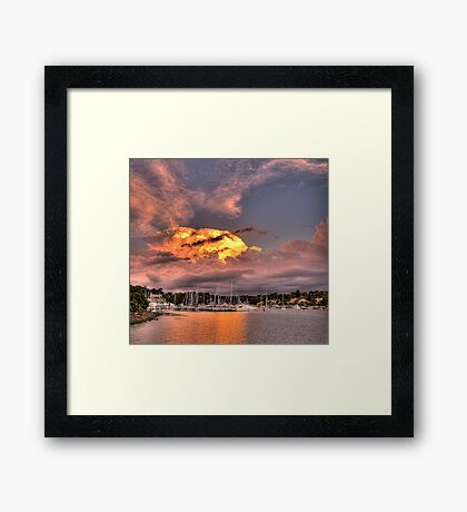 Fire In The Sky - Newport Marina - The HDR Experience Framed Print
