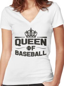 Queen of baseball Women's Fitted V-Neck T-Shirt