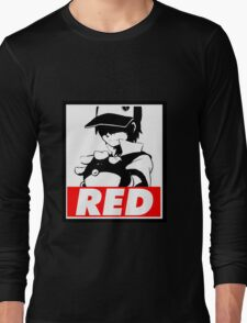 Red Obey Long Sleeve T-Shirt
