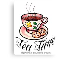 Tea Time Saucer and Cup Tattoo Design Canvas Print