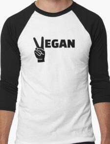 Vegan peace Men's Baseball ¾ T-Shirt