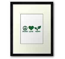 Peace love vegan Framed Print