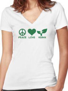 Peace love vegan Women's Fitted V-Neck T-Shirt