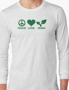Peace love vegan Long Sleeve T-Shirt