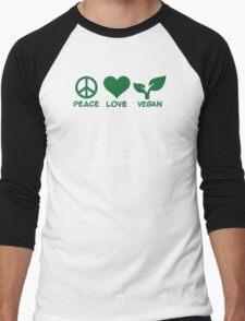 Peace love vegan Men's Baseball ¾ T-Shirt