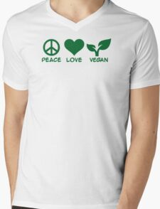 Peace love vegan Mens V-Neck T-Shirt