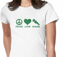 Peace love veggie Womens Fitted T-Shirt